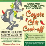 Feb 6 : Dunsmuir Railroad Days 2nd Annual Coyote Chili Cook-off