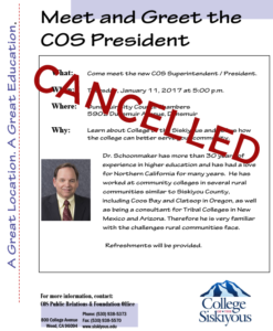 Cancelled – Meet and Greet the COS President