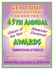 Get in your nomination for Dunsmuir Citizen of the Year!